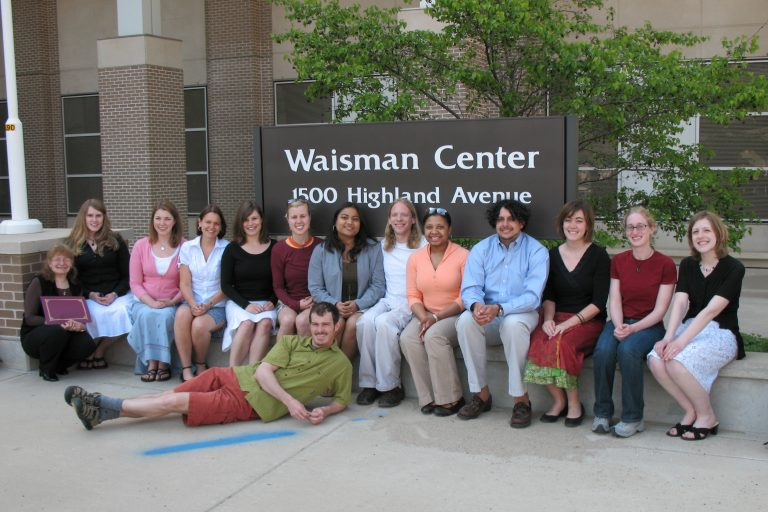 2007 LEND Trainee Graduates photo in front of the Waisman Center building sign